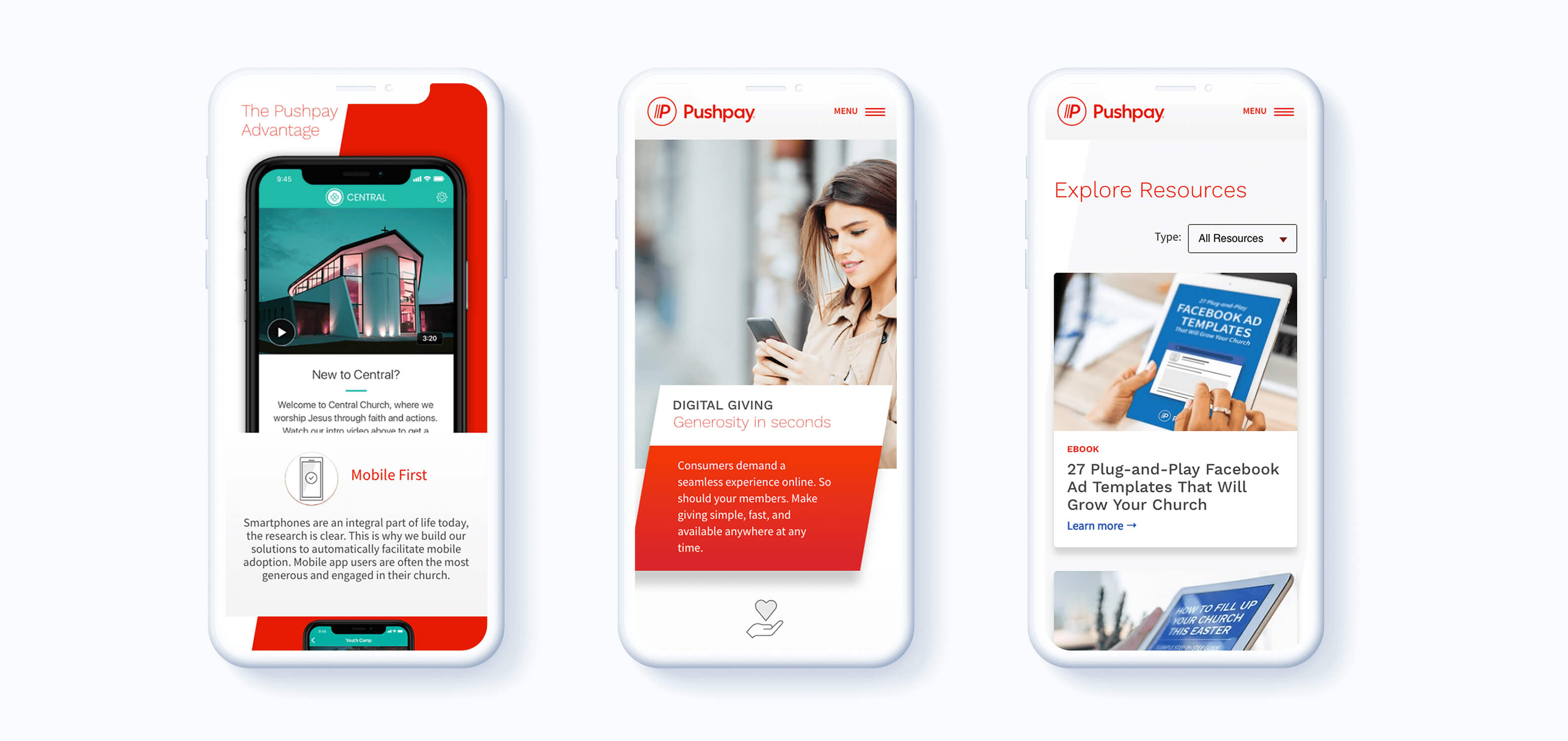 Images of Pushpay mobile design