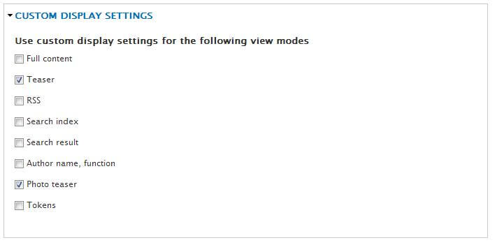 View Modes Custom Display Settings