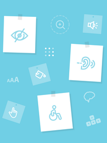 Image of accessibility icons on a blue screen