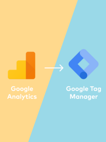 Orange Google Analytics logo with arrow pointing to blue Google Tag Manager logo.